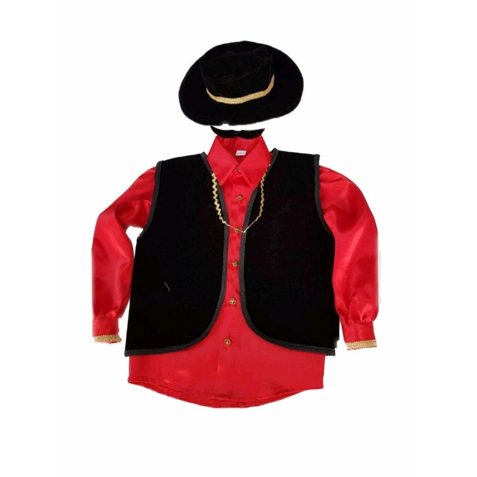 Costum țigan roșu cu vesta catifea