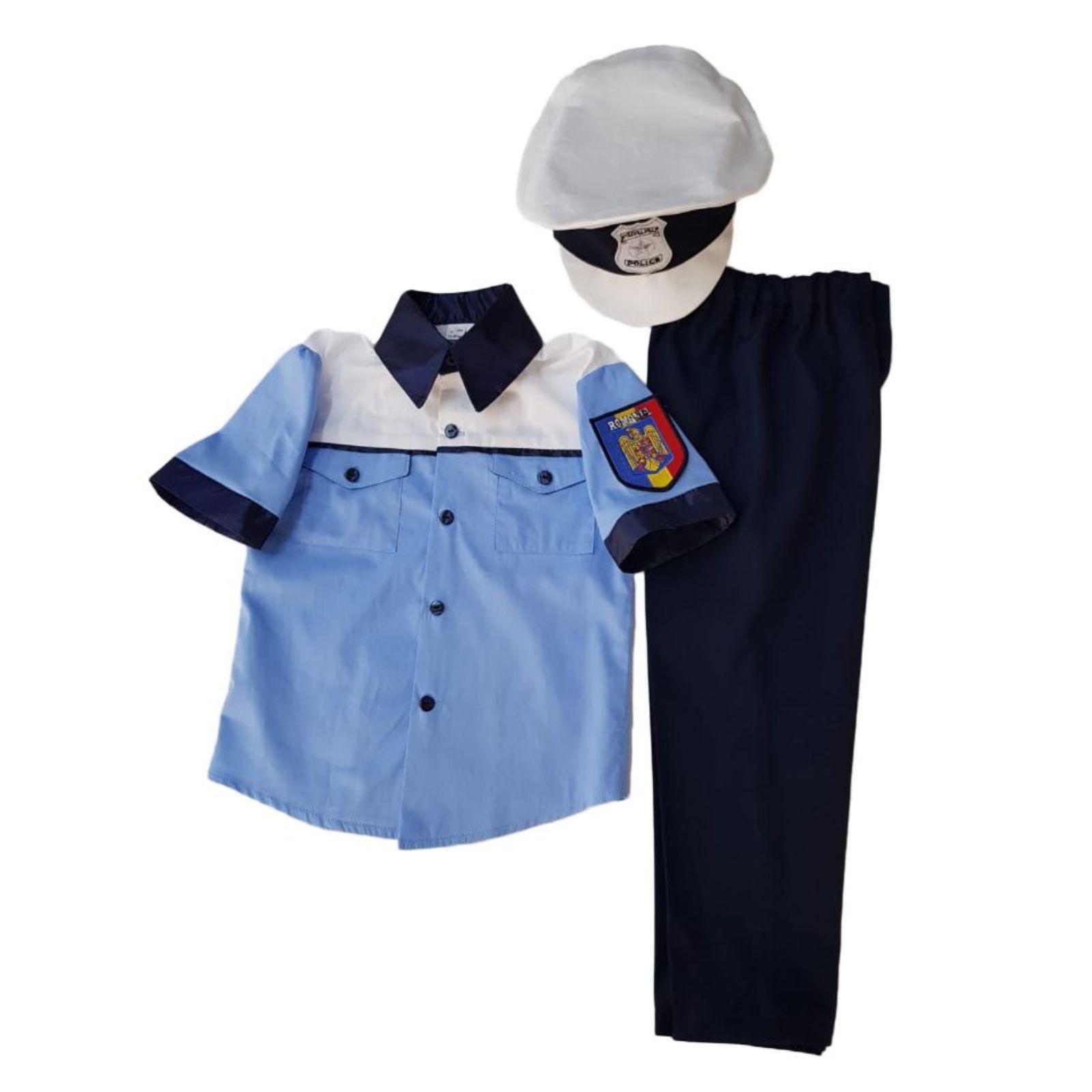 Costum politist copii- sapca bicolora și scris reflectorizant 2