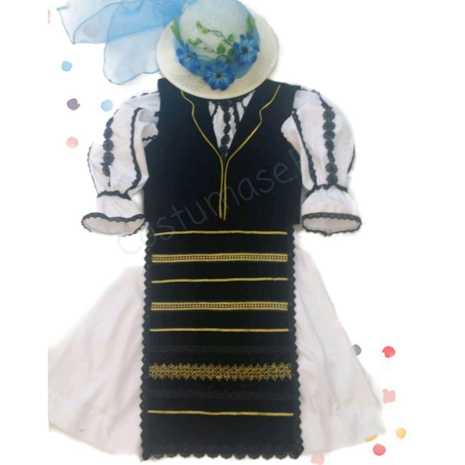 Costum popular fete cu palarie
