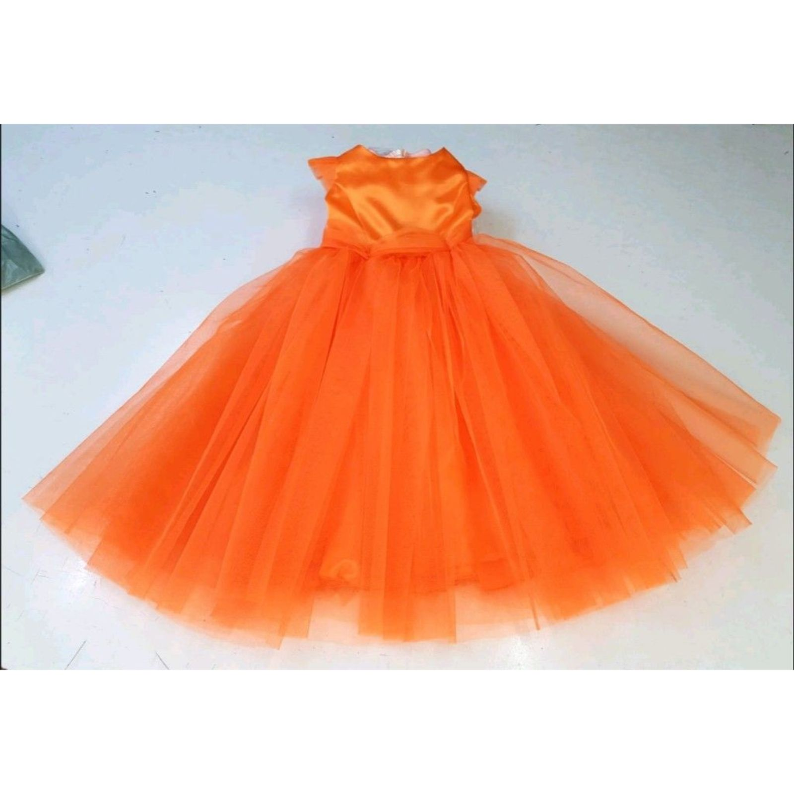 Rochita Printesa portocalie tulle 1