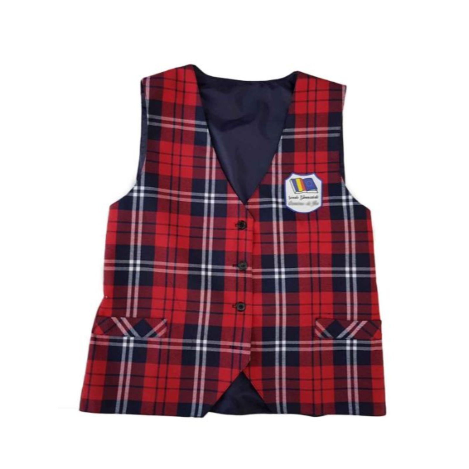 Vesta rosie carouri mari – uniforma scolara 1