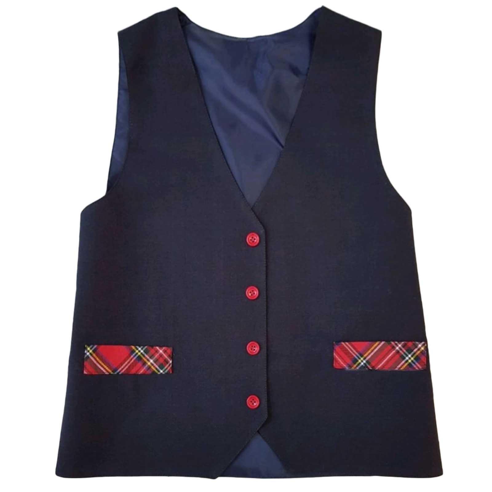 Vesta uniforma bleumarin cu nasturi rosii