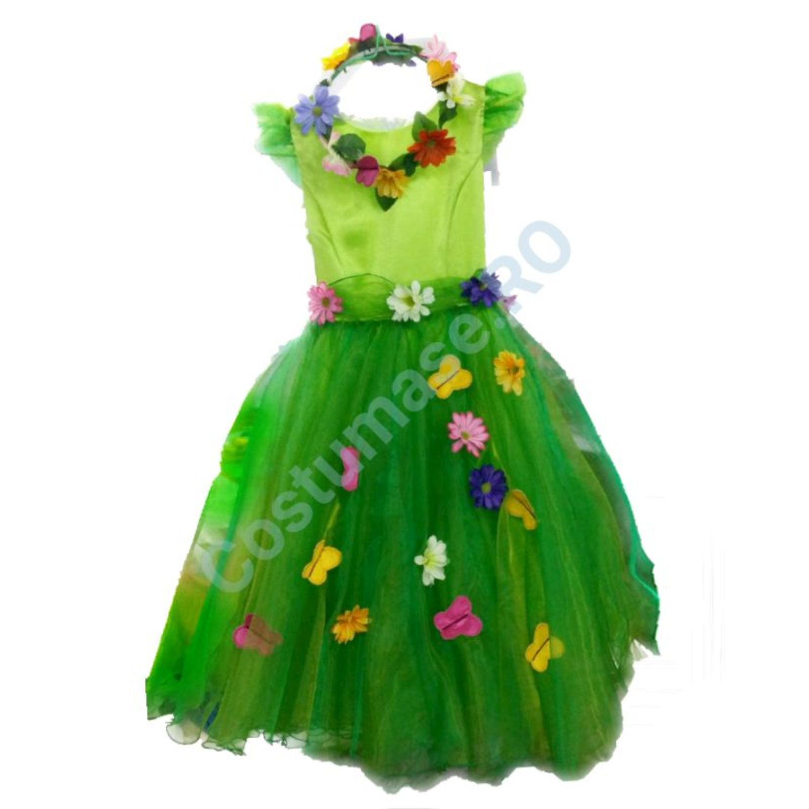 Zana Primavara verde cu flori si fluturasi