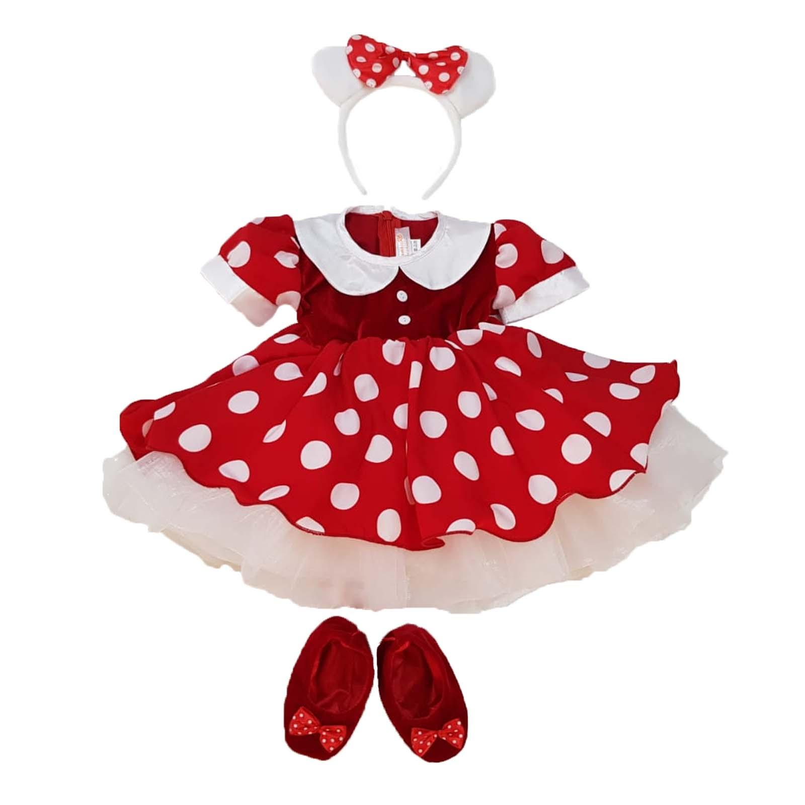 Rochita Minnie Mouse rosie cu bentita alba