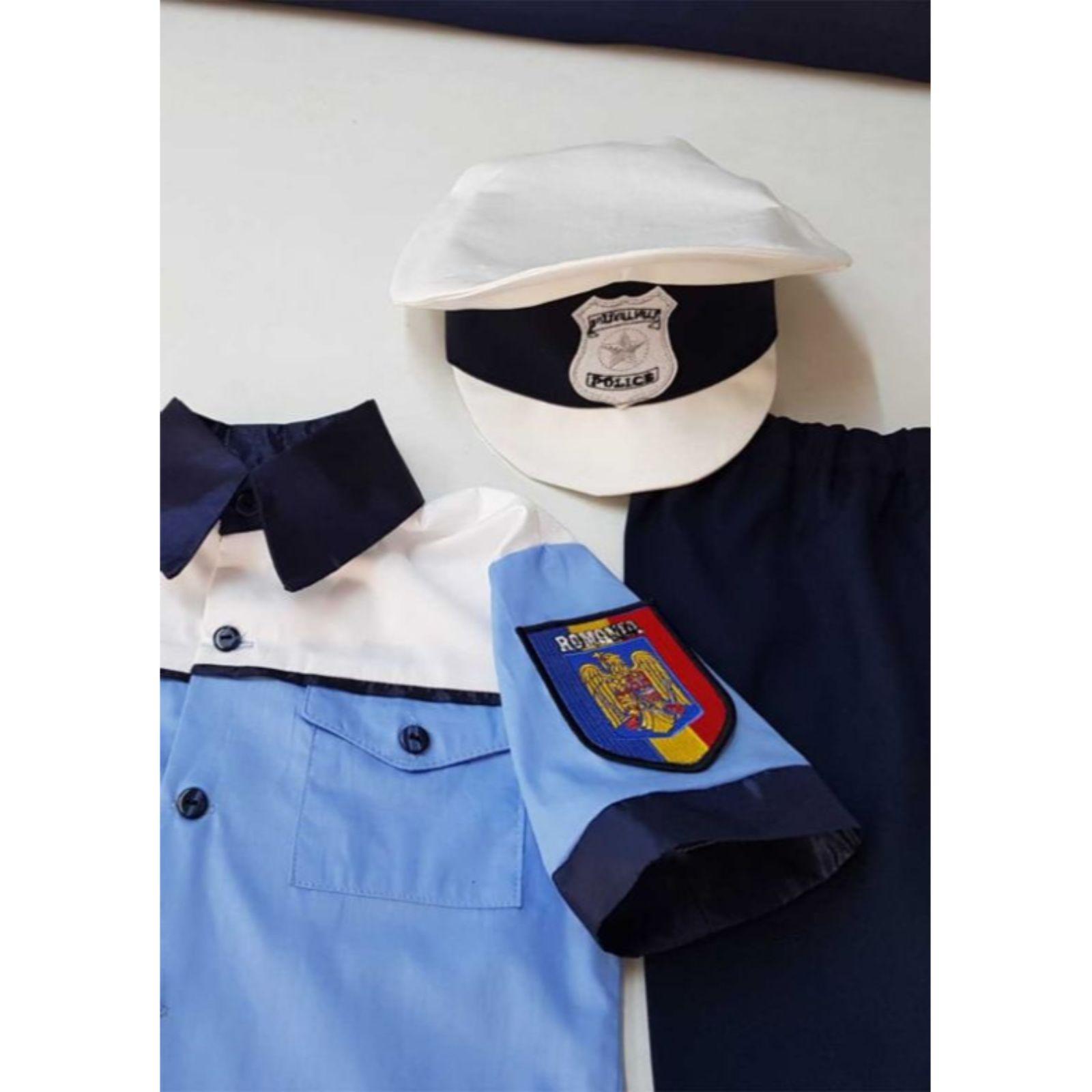Costum politist copii- sapca bicolora și scris reflectorizant 4