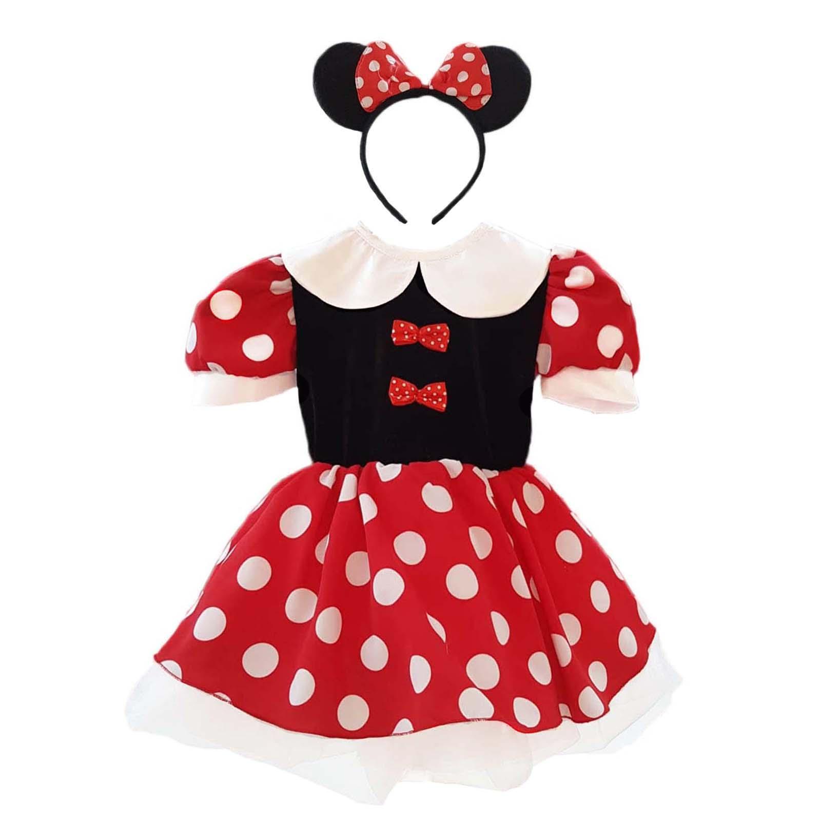 Rochița Minnie Mouse cu fundițe si guler alb 1