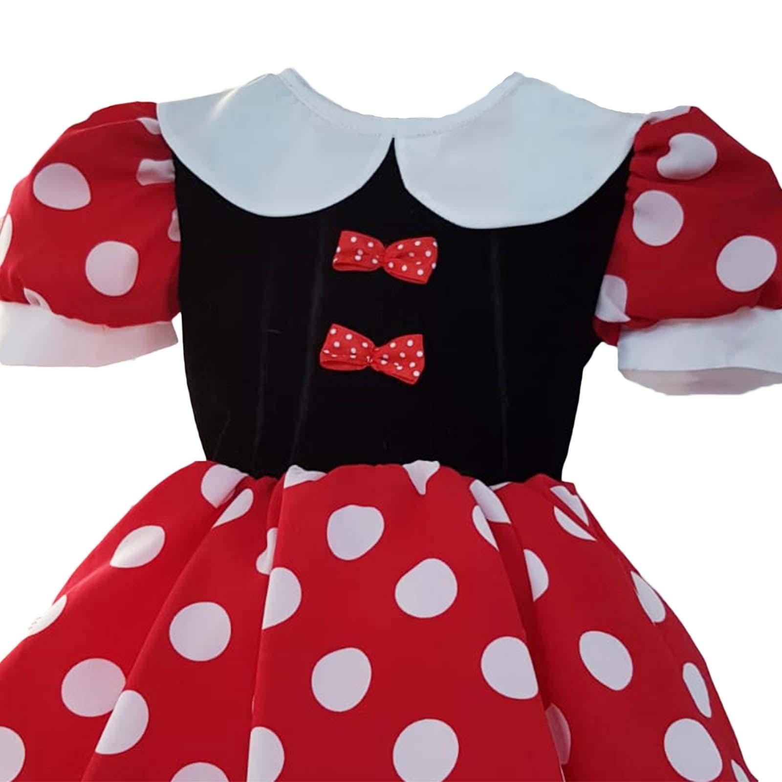 Rochița Minnie Mouse cu fundițe si guler alb