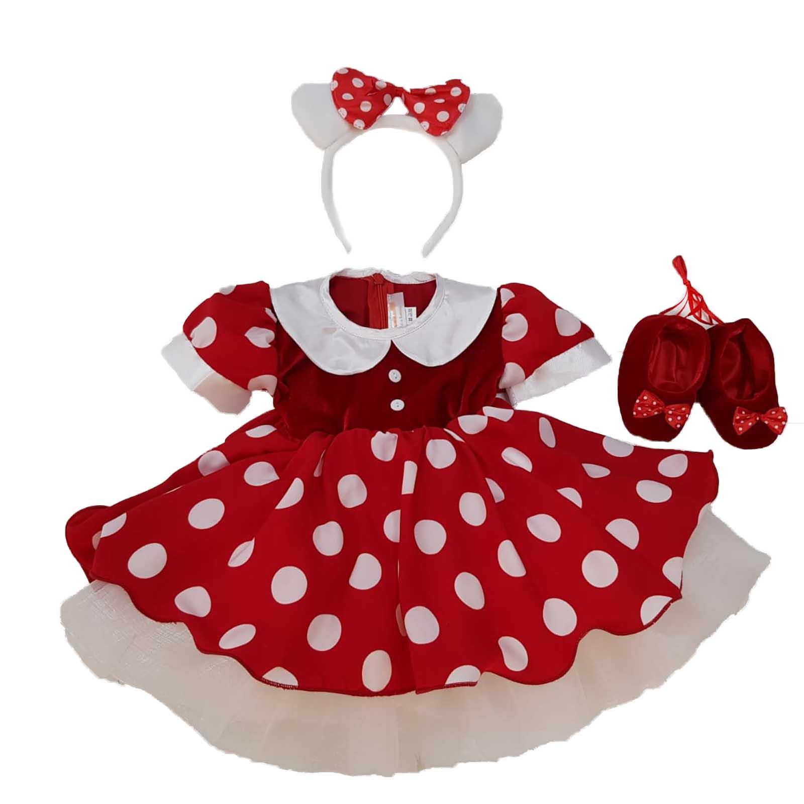 Rochita Minnie Mouse rosie cu bentita alba 3