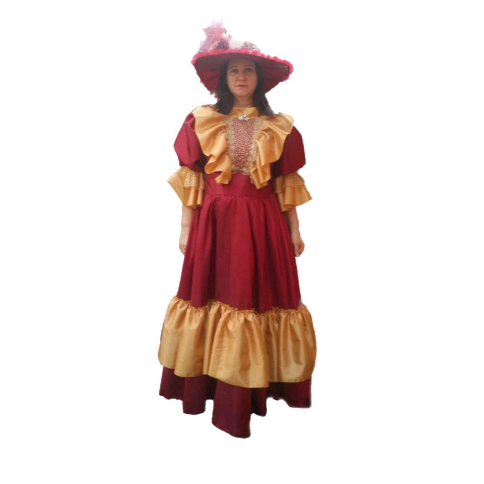 Rochiță de epocă roșu – muștar fete 1