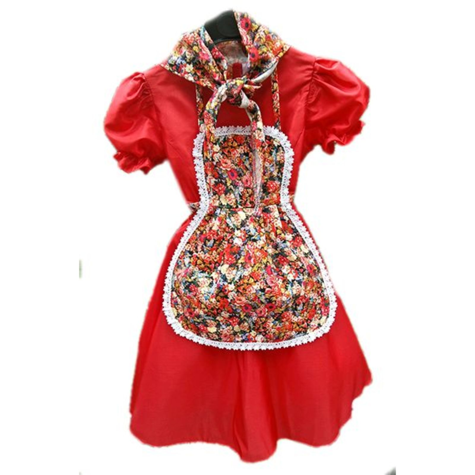 Rochița roșie cu șorțuleț și batic